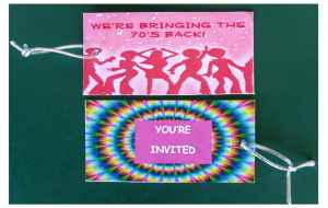 70s Invitation Tags (double sided) that were inserted into pocket on front of invitation.
