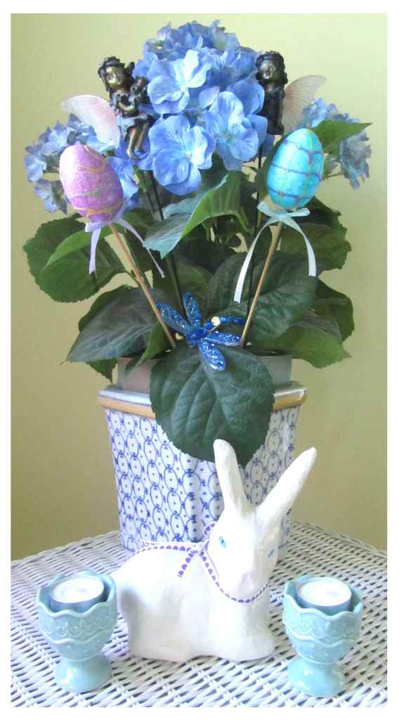 Easter eggs aren't just for eating. They can also be added to flowers for a simple display.